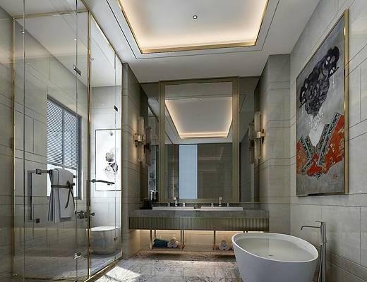 现代轻奢卫生间, 淋浴房, 浴室柜, 花洒, 卷帘