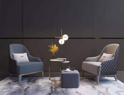 沙发组合, 单人沙发, 圆几, 现代沙发组合, 花瓶花卉, 吊灯, 现代