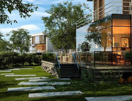 别墅园林, 别墅, 现代别墅, 现代, 园林, 植物, 树, 休闲藤椅