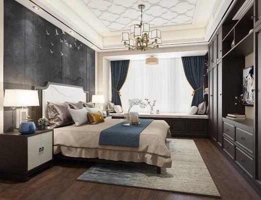 新中式, 卧室, 床, 吊灯, 窗帘, 衣柜