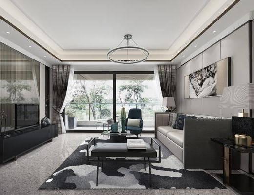 客厅, 多人沙发, 边几, 台灯, 装饰画, 挂画, 吊灯, 茶几, 凳子, 单人沙发, 电视柜, 装饰柜, 边柜, 摆件, 装饰品, 陈设品, 现代