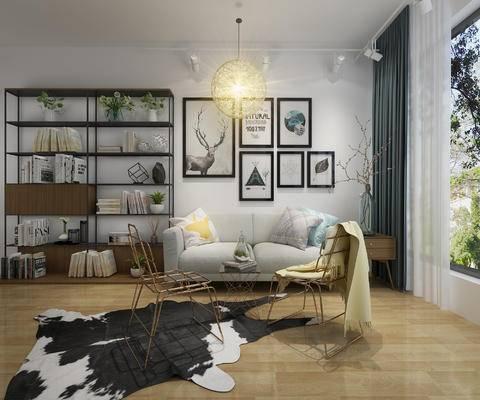 沙发组合, 椅子, 吊灯, 装饰画, 窗帘