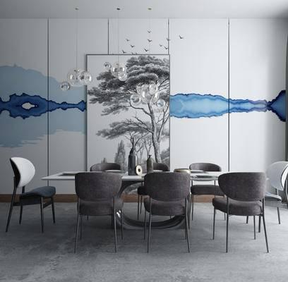 餐桌椅, 桌椅, 桌子, 椅子, 单椅, 餐具, 花瓶, 现代, 北欧, 吊灯