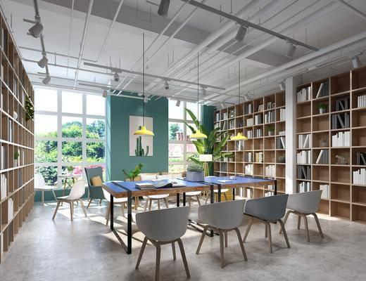 书柜, 书架, 书籍, 桌椅组合, 装饰画, 吊灯