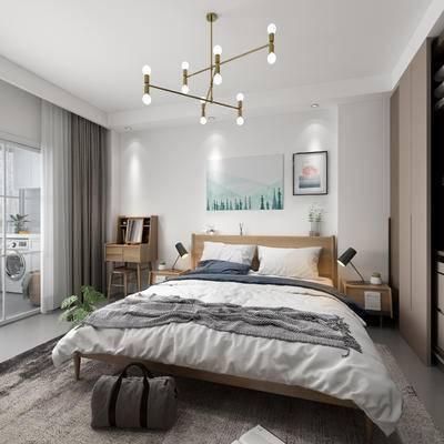 北欧, 卧室, 双人床, 床头柜, 吊灯, 挂画