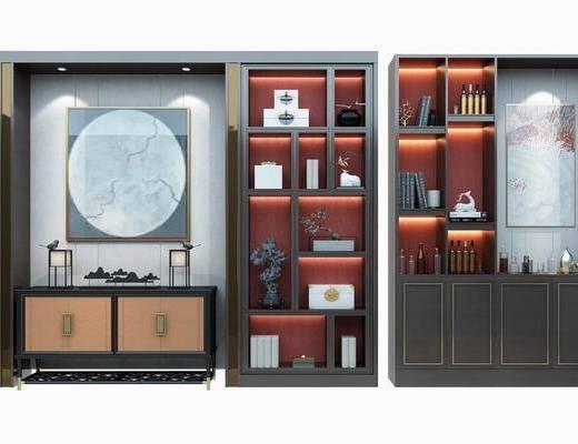 书柜组合, 装饰柜, 摆件, 装饰品, 边柜, 陈设品, 装饰画, 挂画, 新中式