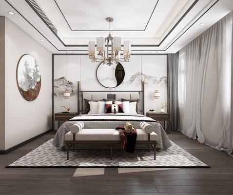 双人床, 床尾踏, 床头柜, 墙饰, 背景墙