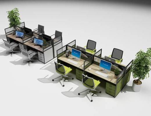办公桌, 办公椅, 电脑, 办公桌椅, 盆栽