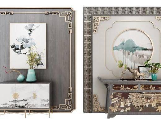 装饰柜, 边柜, 装饰画, 挂画, 摆件, 装饰品, 陈设品, 新中式