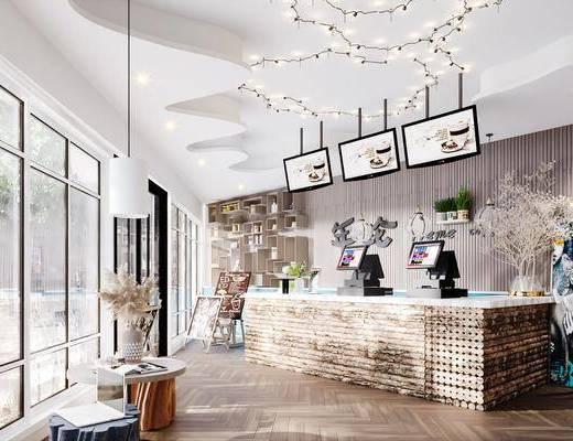 咖啡厅, 收银台, 吊灯, 桌花, 花瓶