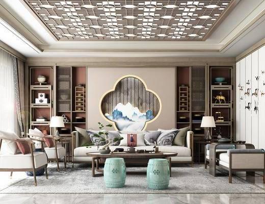 沙发组合, 软装, 摆件, 鼓凳, 窗帘, 台灯, 花格