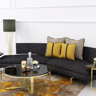 多人沙发, 布艺沙发, 茶几, 摆件, 落地灯, 边几, 美式
