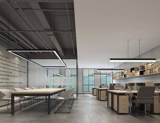 办公桌, 电脑桌, 吊灯, 墙饰, 会议桌