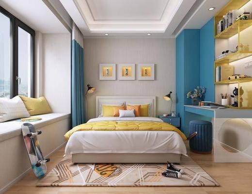 兒童房, 現代兒童房, 臥室, 雙人床