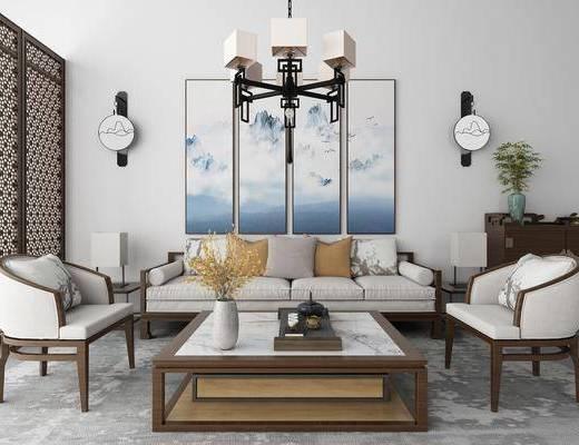 沙发组合, 多人沙发, 单人沙发, 茶几, 装饰画, 组合画, 屏风, 吊灯, 壁灯, 边柜, 摆件, 装饰品, 陈设品, 新中式