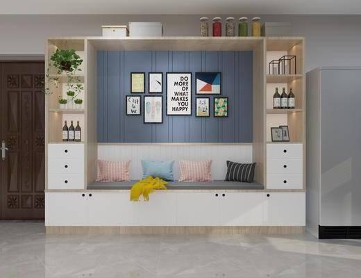 酒柜, 装饰柜, 装饰画, 挂画, 照片墙, 卡座, 摆件, 装饰品, 陈设品, 现代
