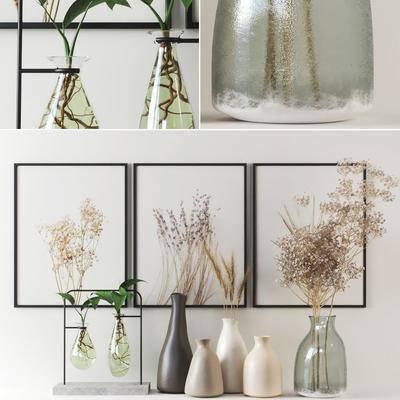 花瓶花卉, 挂画组合, 绿植植物, 摆件组合, 现代