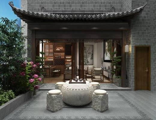 花园, 桌子, 凳子, 绿植植物, 花卉, 门面门头, 中式