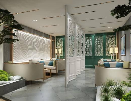 spa接待室, 多人沙发, 茶几, 树木, 落地灯, 装饰画, 挂画, 圆弧沙发, 椅子盆景, 新中式