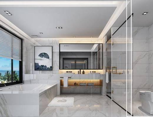 卫生间, 现代卫生间, 卫浴, 浴缸