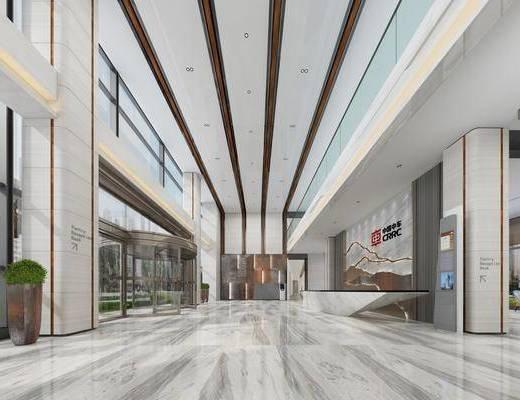 电梯厅, 办公大楼, 大厅, 大堂