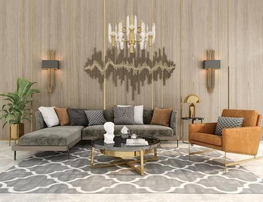 沙發組合, 沙發茶幾組合, 壁燈, 墻飾, 吊燈, 現代