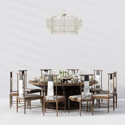 新中式餐桌椅, 餐桌椅, 桌椅组合