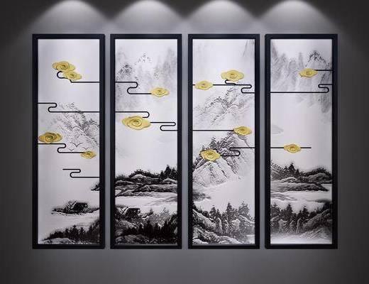 装饰画, 挂画, 水墨画, 端景画, 山水画