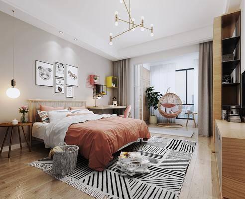 单人床, 吊椅, 地毯, 装饰画, 吊灯, 床头柜, 电视柜