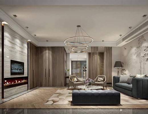 新中式, 客厅, 沙发茶几组合, 吊灯
