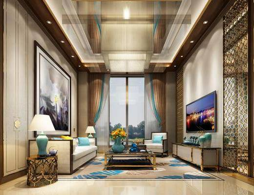 现代客厅, 现代, 客厅, 别墅, 布艺沙发, 水晶灯