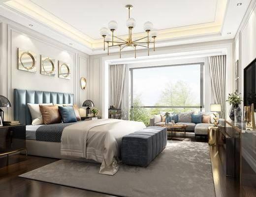 现代卧室, 轻奢卧室, 卧室, 双人床
