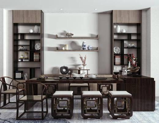 新中式茶桌椅, 茶桌椅组合, 餐桌椅组合, 桌椅组合
