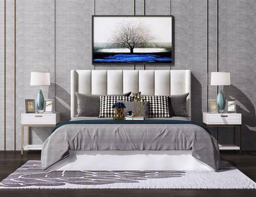 床具组合, 台灯, 摆件组合, 挂画, 新中式
