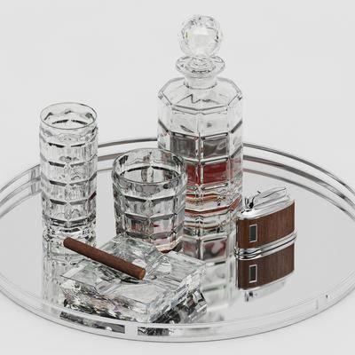 酒瓶, 酒杯, 酒水, 雪茄, 打火机, 烟灰缸, 现代