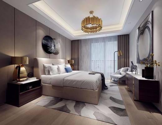 卧室, 现代卧室, 床具, 双人床, 单椅, 休闲椅, 床头柜, 台灯, 吊灯, 墙饰, 边柜, 摆件, 装饰品, 金属摆件, 落地灯, 现代