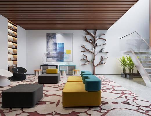 沙发组合, 墙饰, 装饰画, 茶几, 娱乐区
