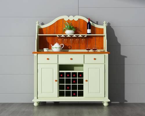 橱柜, 边柜, 装饰柜, 酒柜, 木柜, 盆栽, 简约, 美式