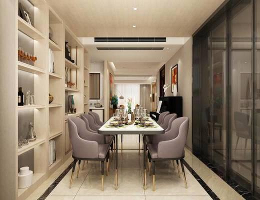 餐厅, 现代, 餐桌椅, 餐边柜, 摆件