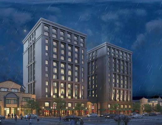夜景建筑表现, 商业综合体, 商业大厦, 商业, 现代