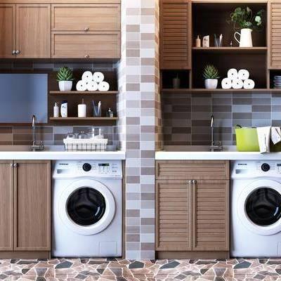 洗衣機, 洗手臺, 儲物櫥柜, 壁柜吊柜, 現代