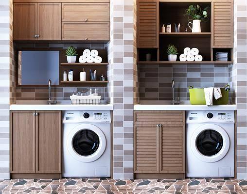 洗衣机, 洗手台, 储物橱柜, 壁柜吊柜, 现代