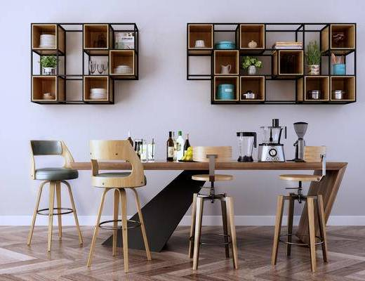 北欧简约, 北欧餐桌, 木纹餐桌, 餐桌组合, 餐桌, 北欧, 下得乐3888套模型合辑