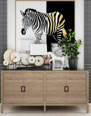玄关柜, 边柜, 台灯, 动物画, 装饰画, 摆件, 装饰品, 陈设品, 中式