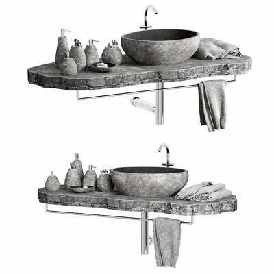 洗手盆, 洗手台, 毛巾, 沐浴用品, 洗漱用品, 现代