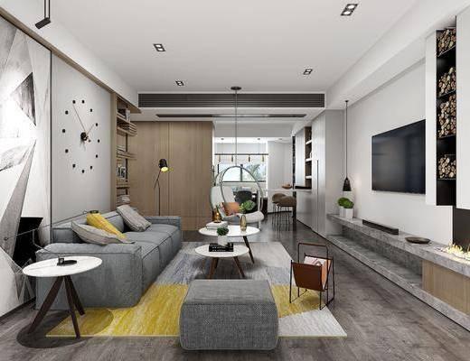 客厅, 多人沙发, 布艺沙发, 脚踏沙发, 边几, 吊椅, 落地灯, 墙饰, 凳子, 北欧