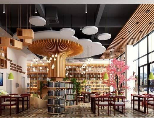 图书馆, 书柜, 书桌, 单人椅, 树木, 吊灯, 书籍, 盆栽, 绿植植物, 花卉, 装饰柜, 现代