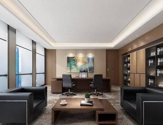 办公室, 经理室, 现代, 书桌, 办公椅, 办公桌, 书柜, 书籍, 书本, 挂画, 装饰画, 茶几, 沙发, 摆件, 植物, 盆栽