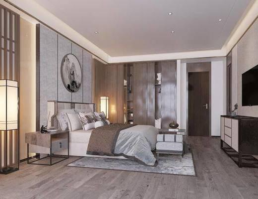 双人床, 电视柜, 落地灯, 墙饰, 衣柜, 床头柜