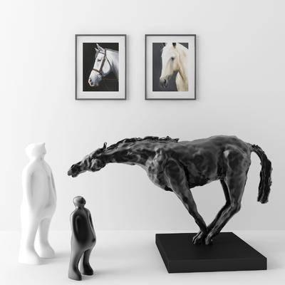 马儿人物, 雕塑雕刻, 摆件组合, 挂画组合, 现代